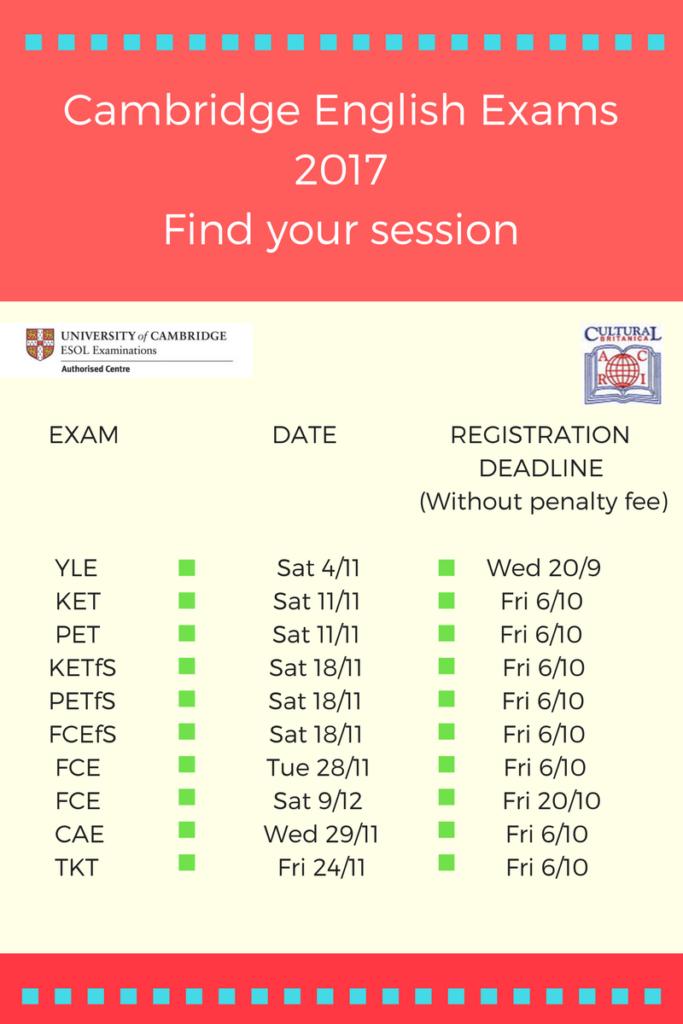 Dates and deadlines Cambridge